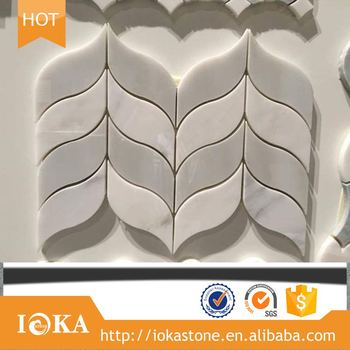 hign quality new design Manufactory wholesale white Carrara salix leaf pattern mosaic wall tile for wholesales