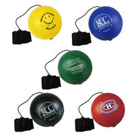 6.3cm smile face anti stress ball with finger string