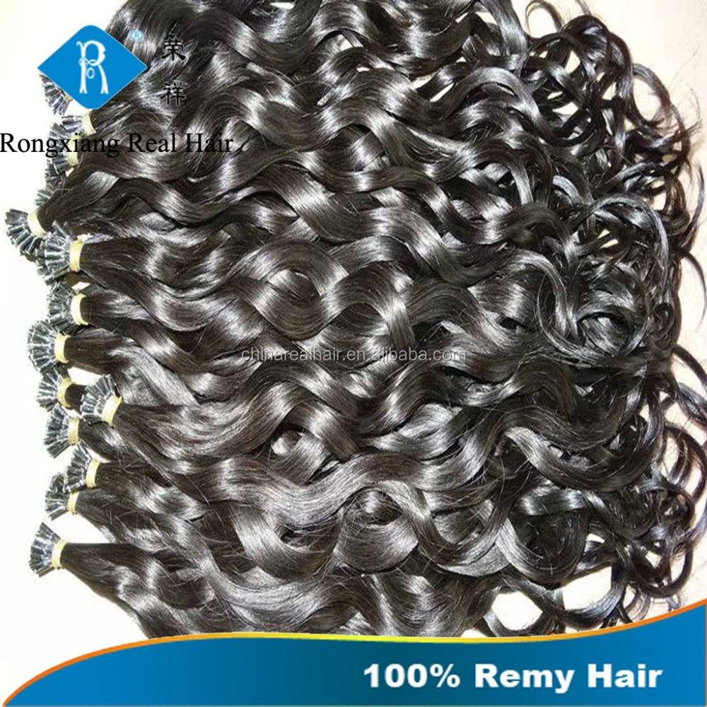 Wholesale natural human remy hair italian keratin u tip wavy hair extension