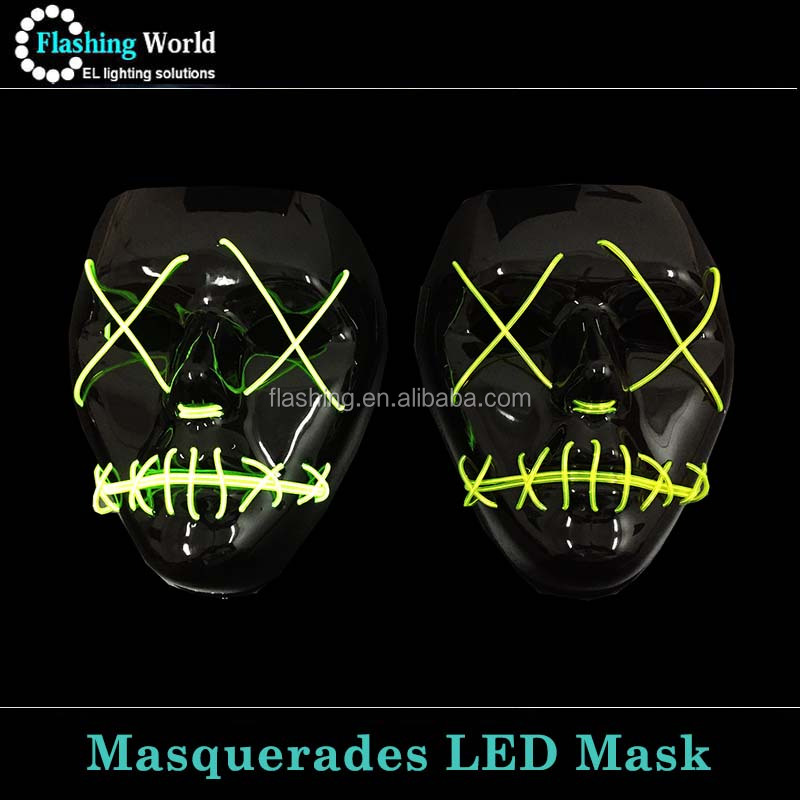 Sound Active and Flashing Filled Most Face Neon Masquerades Mask
