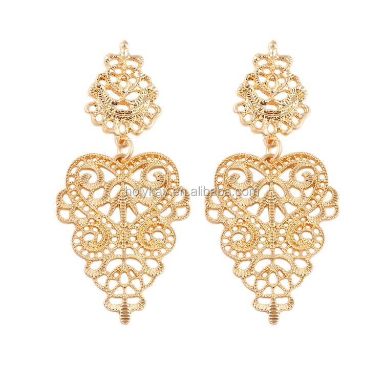 2015 new 24 carat gold alloy indian style earrings