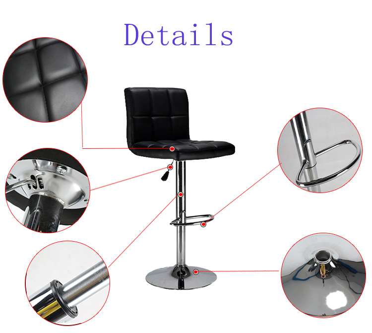 Modern Cheap Well Designed Furniture PU Leather Bar Stool With Back