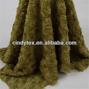 12mm olive green embossed cutted soft 100% polyester dobby artificial fur fabric