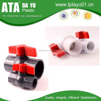DIN PN16 pvc high impact ball valve with long butterfly red handle