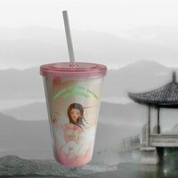 BPA-free Double Wall Plastic Drinking Cup With Straw