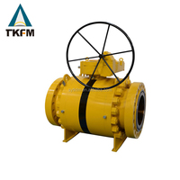 High pressure api flange type worm gear operated dn32 stainless steel 3 pc weld ball valve