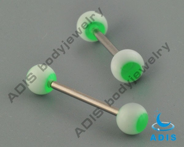Wholesale surgical steel body jewelry acrylic ball 316l tongue ring