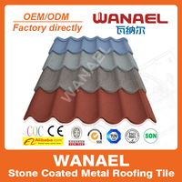 Wanael high quality colorful stone chips coated roof tile/different types of tiles/style selections tile