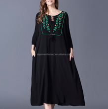 Spring Loose Plus Size Women Clothing Embroidery Large Robe Dress Black Mexico Long Dresses STb-0834