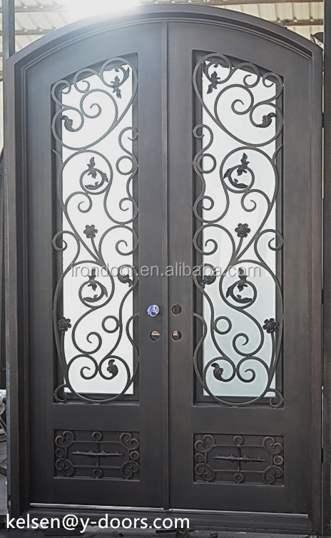 Eyebrow arch or round top hand-forged wrought iron double entry door