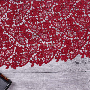 Newest Fashion Wine Color Shinny Embroidery Guipure Lace Fabric Cord Lace Fabric For Fashion show dress