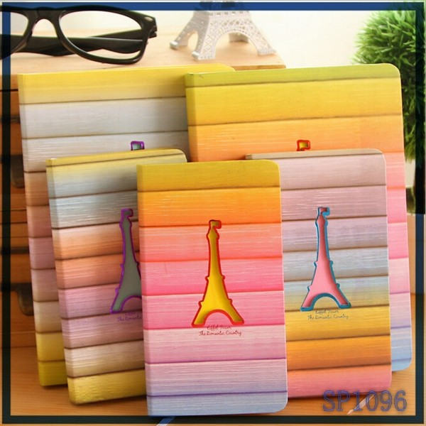 Promotional customized <strong>School</strong> 2015 Office left handed decoration marking Eiffel Tower style notebooks and writings pads