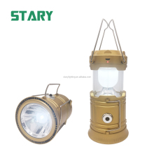 STARY 1500mah 18650 battery powered led camping solar lantern light with mobile phone charger