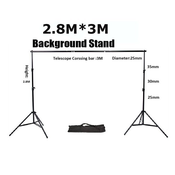 New 2015 Professional Studio photography background 4 sections Metal Background Stand Tripod + 3 section Cross Bar +Carry Bag
