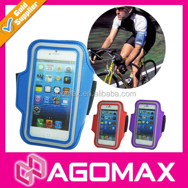 Reflective sports armband for running cell phone arm pouch
