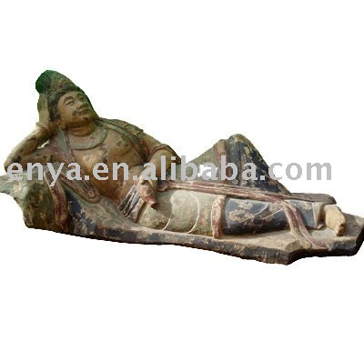 imitation antique wood sculpture, religious statue, wood lying Buddha