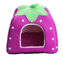 Strawberry Dog Bed Cute Soft Sponge Puppy Cat Cave Pet House for Small Animals