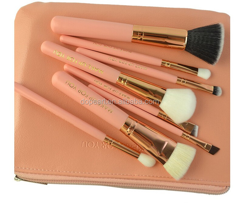 Private label 8Pcs pink color cosmetic brush set