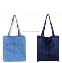 Girls Women Daily Simple Fashion Wholesale Denim Tote Jeans Cloth Bags