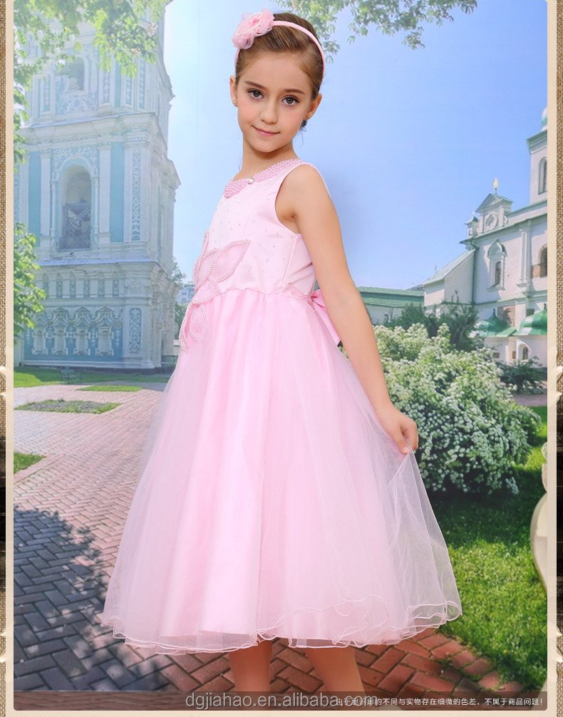 latest-designed Bowknot pink long puffy kids girls party dresses