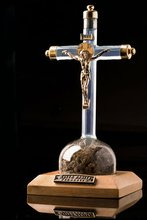 Jesus Christ Catholic Gold Cross With Holy Water & Earth