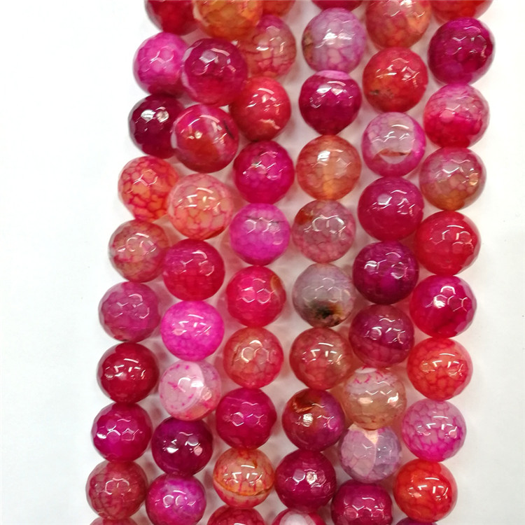Gorgeous Natural Hot Pink Agate Gemstone Round Faceted Loose Beads 6mm / 8mm / 10mm Strand for Jewelry