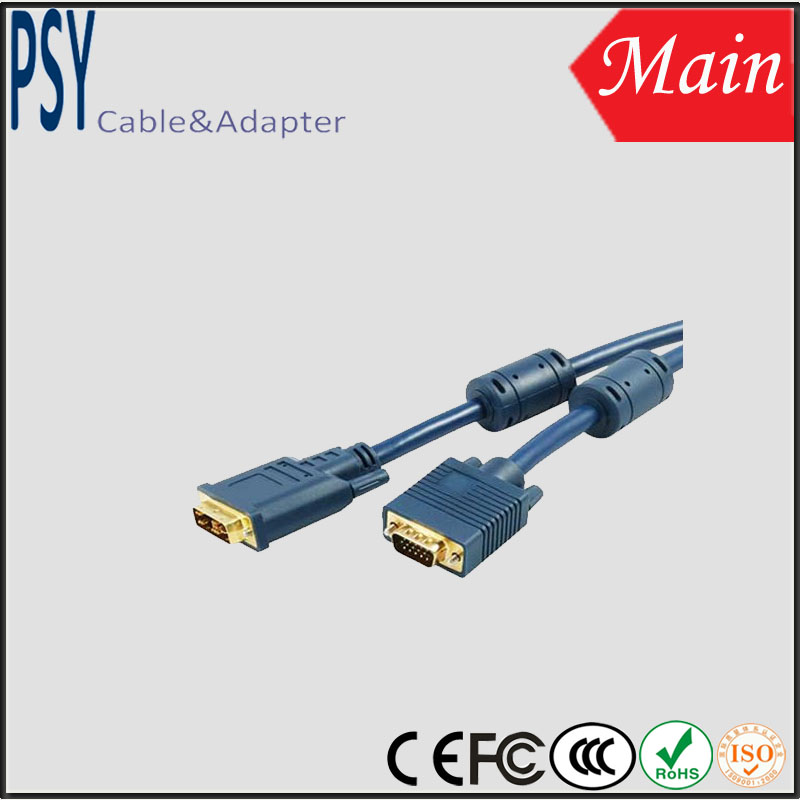 2014 High Quality Male to Male Double Circular DVI TO VGA Cable