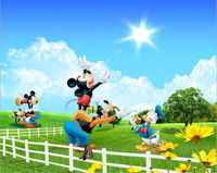 Donald duck and mickey mouse decorative wallpaper for kid's room