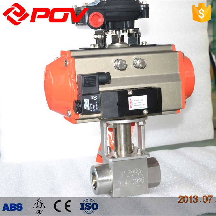 double acting high pressure pneumatic ball valve with positioner