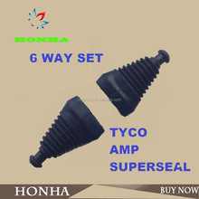 6 Way TYCO AMP Superseal Waterproof Connector, Rubber Boots Sleeve Connector