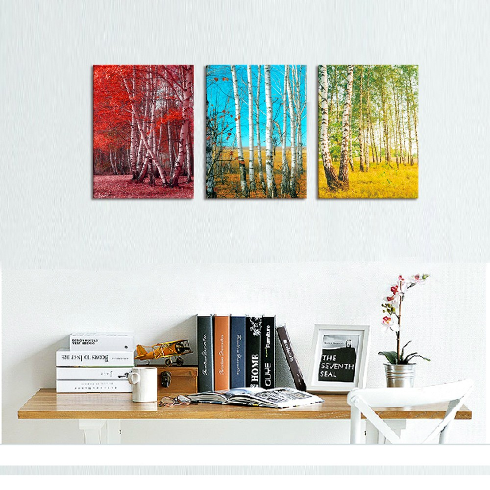 Forest Painting for Living Room Birch Tree in Different Season Landscape Canvas Wall Art Prints