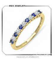 Gold Round White Diamond & Blue Sapphire Anniversary Stackable Wedding Band Ring