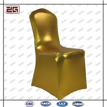 Popular Fashion Luxury Stretch Polyester Gold Custom Wedding Chair Covers
