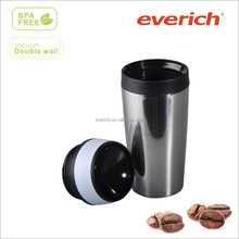 16oz coffee thermo travel mug with soft rubber feel drinking lid