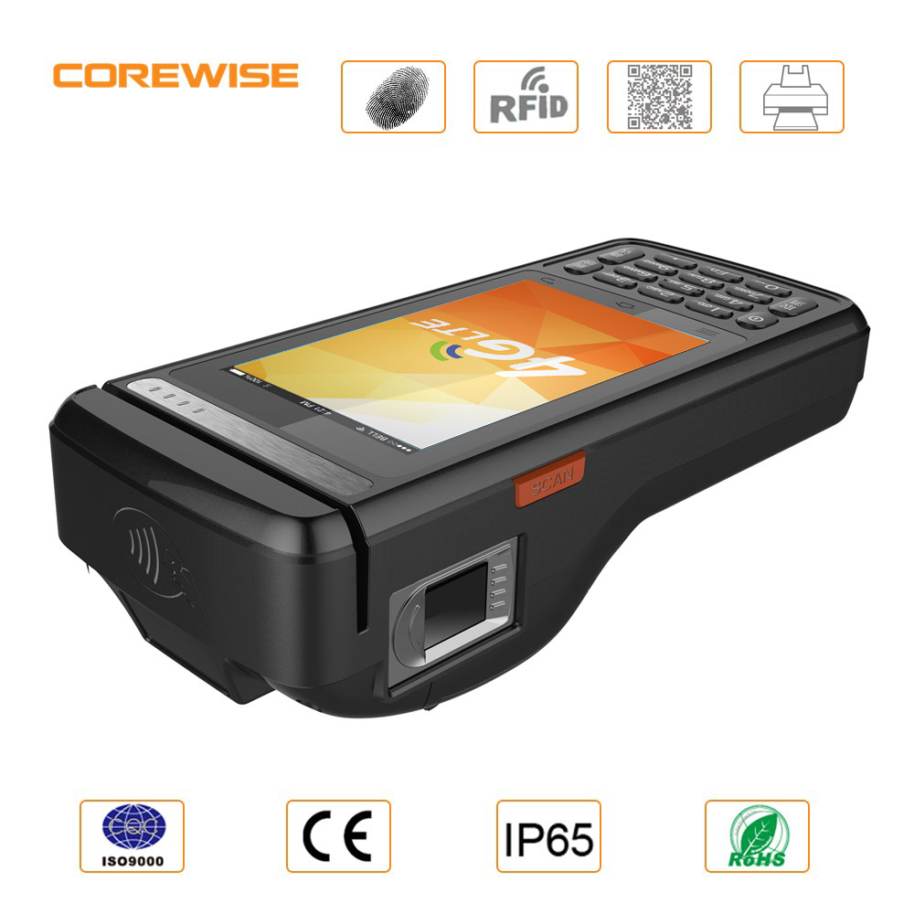 Cheapest handheld NFC RFID fingerprint reader,barcode scanner Bluetooth Printer Mobile Pos Terminal factory/manufactory