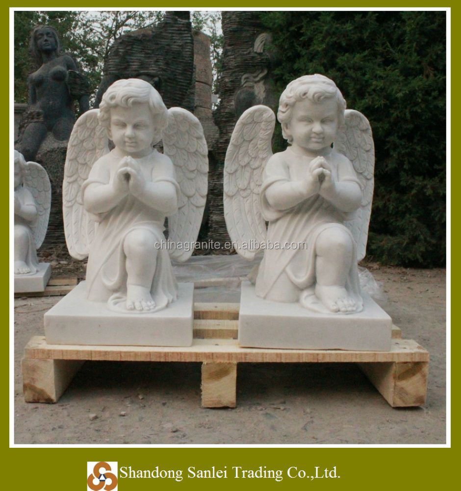 garden praying winged baby marble angel statue