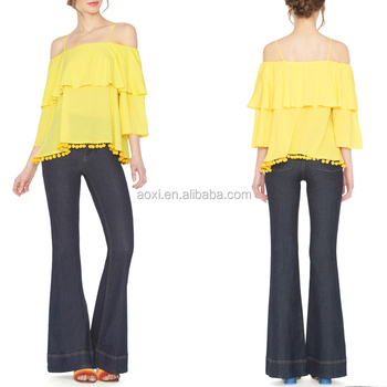 high quality OEM spring off shoulder lady formal fat women chiffon blouse designs