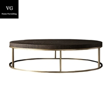 Furniture modern design stainless steel round coffee table Living room furniture wood top stainless steel leg tea table