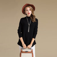 Time Saving female Knitting Sweater Mock Neck Pure Wool Funky Sweater For Export