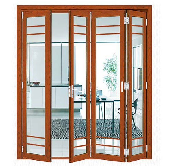 Modern low price PVC accordion color glass folding door for Interior Using
