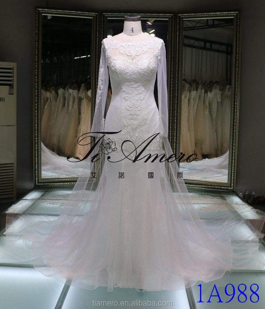 1A988 Classic Embroidered See Through Long Sleeve Sheath Mermaid Lace Long Trail Wedding Dress Bridal Gown