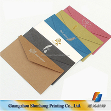 Wedding invitation fancy paper hot stamping printed coin custom envelopes
