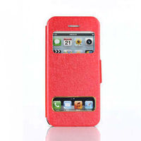 2014 hot Silk print holster window for iphone5C black bright red