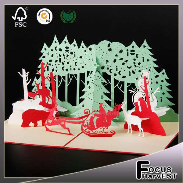 3D Merry Christmas Party gift Handmade card Laser Cut Greeting cards