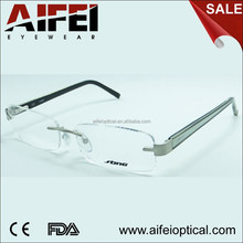 High quality men rimless optical frame with acetate temple