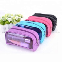 Promotional eco-friendly luxury makeup pouch pvc travel small women black gift cosmetic bag with zipper