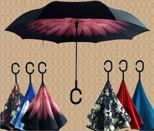 Car Double Layer Reversible Inverted Umbrella with C-Shaped Handle