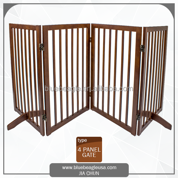 Freestanding 4 Panels Folding Wooden dog Gate