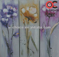 Newest handpainted modern canvas abstract glass painting designs of flowers