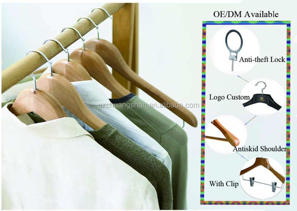 Wholesale Price Antitheft wood hanger with Clips